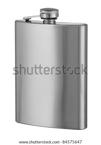 Stainless hip flask isolated on white