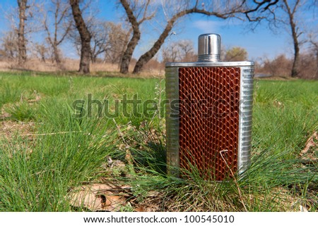 Stainless hip flask on grass in forest
