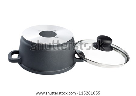Stainless pan with open up glass cover isolated on a white background