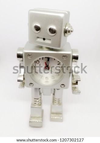 Stainless robot alarm clock  #1207302127