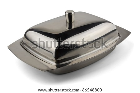 Stainless steel butter dish isolated on  white