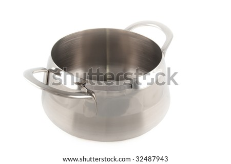 stainless steel cauldron isolated on white