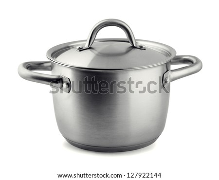 Stainless steel cooking pan isolated on white