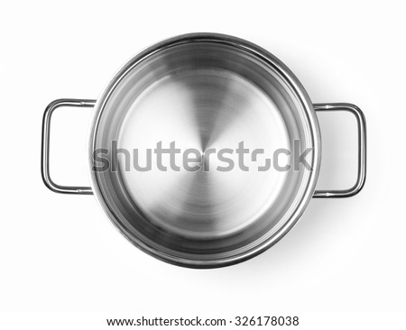 Stainless steel cooking pot  isolated over white background with clipping path