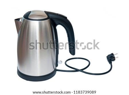 Stainless steel electric kettle isolated on the white background #1183739089