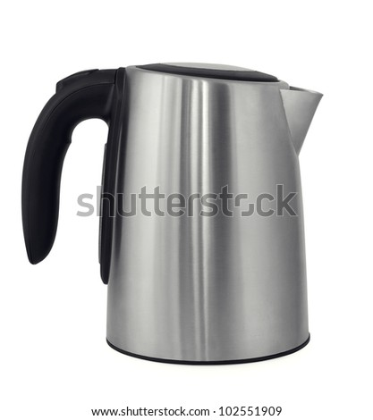 Stainless steel electric kettle isolated on white