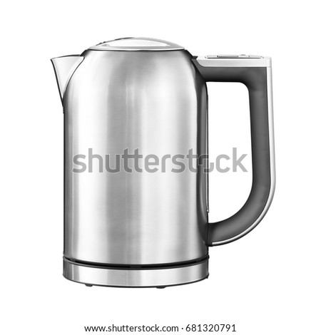 Stainless Steel Electric Kettle Isolated on White Background. Silver Household Appliances. Home Appliances.  #681320791