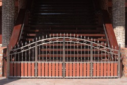 Stainless steel fence gate, modern wrought stainless steel with wood fence