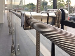 Stainless Steel Fitting with Cable Detail in Glass Wall Cable Net System Structure.