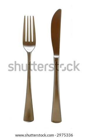 Stainless Steel fork & knife isolated on pure white background