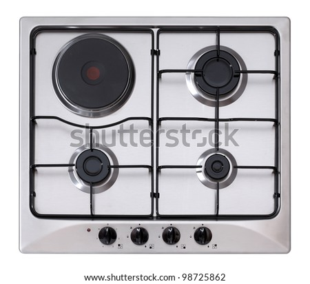 Stainless steel gas and electric hob isolated on white