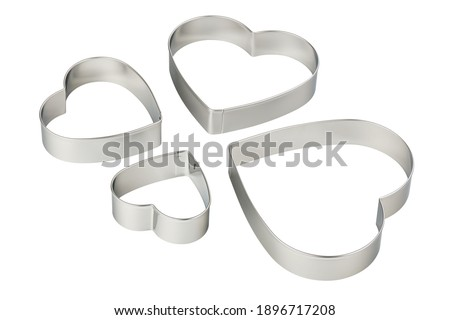 Stainless steel heart-shaped cookie cutters set, cut out Photo stock ©