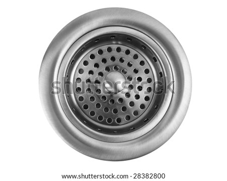 Stainless steel kitchen sink drain on white background