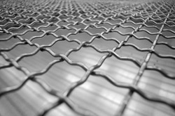 Stainless steel mesh background, square wireframe stainless material.