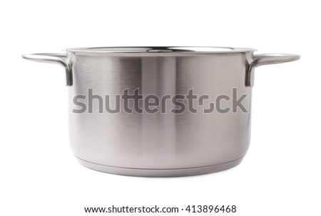 Stainless steel metal cooking pot pan over isolated white background