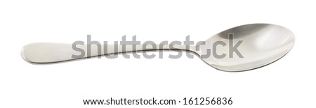 Stainless steel metal spoon isolated over white background