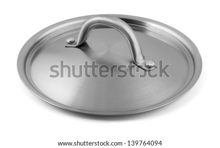 Stainless steel pan lid isolated on white