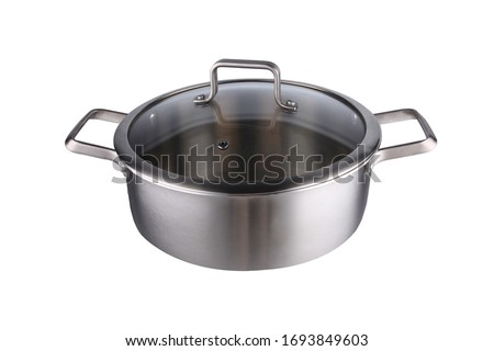Stainless steel  pans isolated on white background Foto stock ©