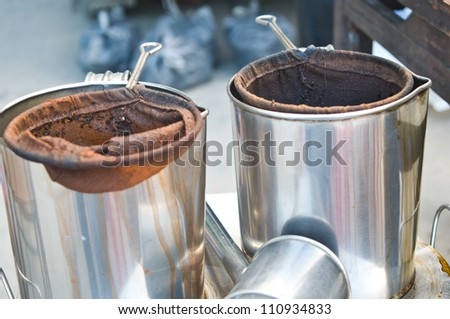 Stainless steel pot for tea - stock photo