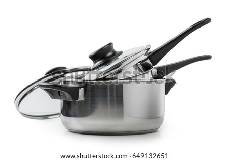 Stainless steel pots and pans isolated on white Foto stock ©