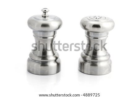 Stainless steel salt and pepper shakers isolated