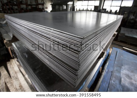 Stainless steel sheets deposited in stacks #391558495