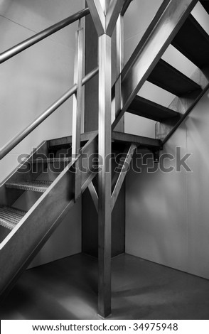 Stainless steel stairs.