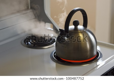 Stainless steel tea kettle coming to a boil on a white stove top.