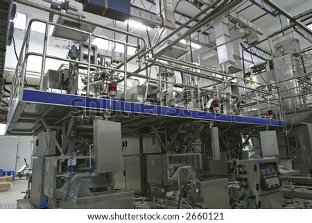 stainless steel temperature control valves and pipes  in modern dairy