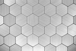 Stainless steel texture. Metal background. Hexagon steel tile texture. Futuristic tiled aluminum background.