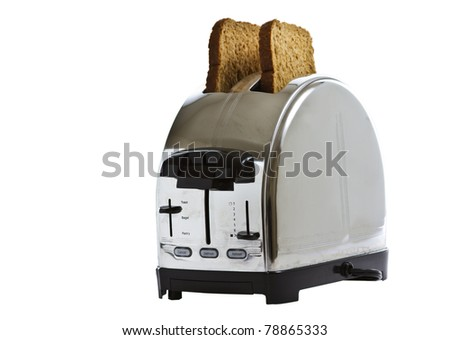 Stainless steel toaster with fresh bread
