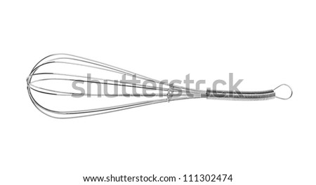 Stainless steel whisk isolated on white background