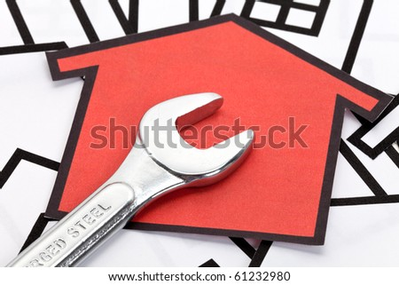Stainless Steel Wrench, Concept of Home Repairing - stock photo