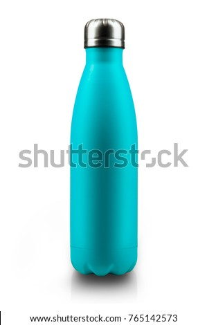 Stainless thermos water bottle, isolated on white background. Light blue color.