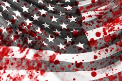 stains on background of USA flag. Black and white USA flag. Black Lives Matter. African Americans Protests. USA riots
