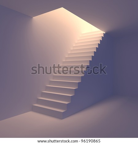 Stair from basement upstairs to light. Conception of success or religion. 3d render