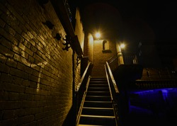 stair outdoor at night ,dark right ,London