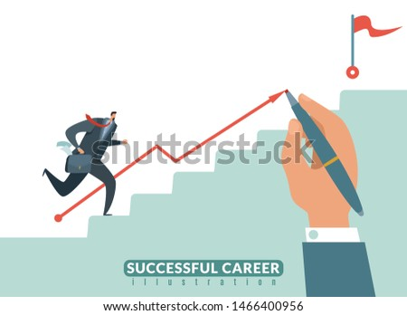 Stair to the goal. Path to success business career, businessman stairway to target and growth successful employeeman illustration