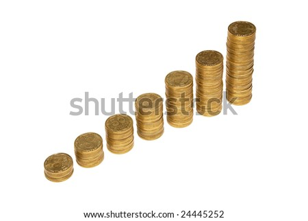Stair to wealth of golden coins isolated on white.