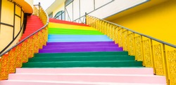 Stair with steps painted in rainbow colorful,Interior Designers