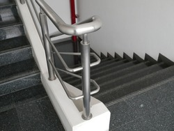 staircase and aluminium railing handle for safety.