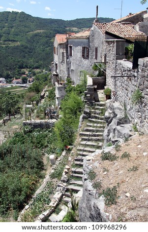 Staircase and buildings in Buzet, Istria, Croatia