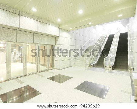Staircase and entrance in underground - stock photo