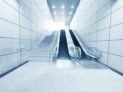 Staircase and escalator in underground