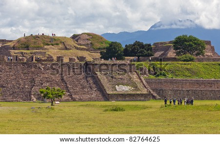 Staircase and the ruins of of Monte Alban - Oaxaca, Mexico.