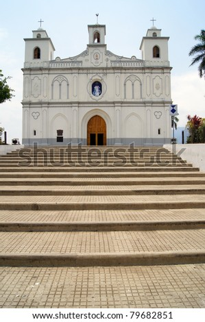 Staircase and white church in Ahuachapan in Salvador