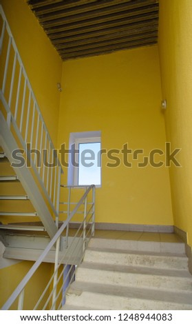 staircase and yellow well - emergency exit in hotel, close-up staircase, interior staircases, interior staircases hotel, Staircase in modern house, staircase in modern building #1248944083