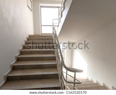 staircase - emergency exit in hotel, close-up staircase, interior staircases, interior staircases hotel, Staircase in modern house, staircase in modern building #1162520170