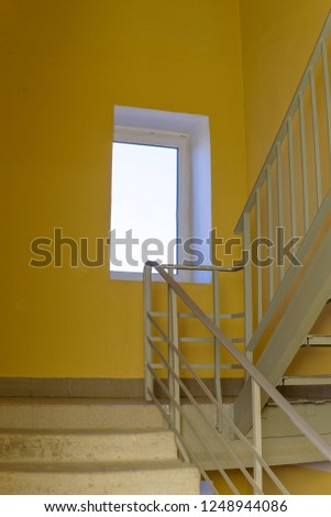 staircase - emergency exit in hotel, close-up staircase, interior staircases, interior staircases hotel, Staircase in modern house, staircase in modern building #1248944086