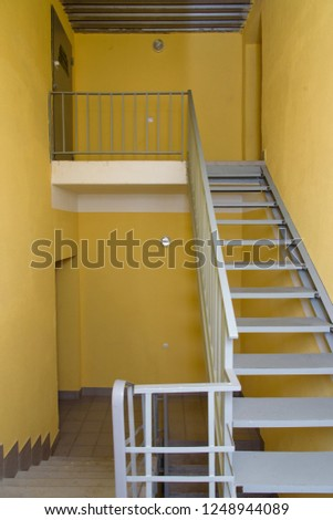 staircase - emergency exit in hotel, close-up staircase, interior staircases, interior staircases hotel, Staircase in modern house, staircase in modern building #1248944089